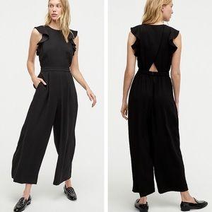 J crew sleeveless ruffle jumpsuit 365 crepe black
